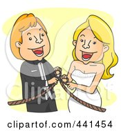 Royalty Free RF Clip Art Illustration Of A Happy Wedding Couple Tying The Knot Over Yellow by BNP Design Studio