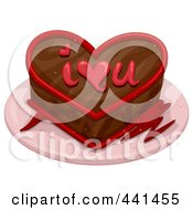 Royalty Free RF Clip Art Illustration Of A Chocolate I Love You Cake by BNP Design Studio