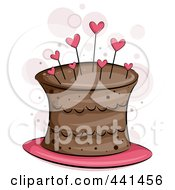 Royalty Free RF Clip Art Illustration Of A Chocolate Cake With Heart Pins
