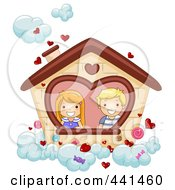 Royalty Free RF Clip Art Illustration Of A Boy And Girl In A Valentine House In The Clouds