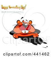 Royalty Free RF Clip Art Illustration Of A Groundhog Seeing His Shadow With Happy Groundhog Day And Other Text