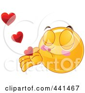Royalty Free RF Clip Art Illustration Of A Valentine Smiley Emoticon Blowing Heart Kisses