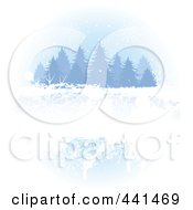 Royalty Free RF Clip Art Illustration Of A Grungy Winter Evergreen Background by Pushkin