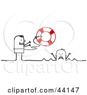 Clipart Illustration Of A Stick Man Tossing A Life Buoy Out To A Drowning Person