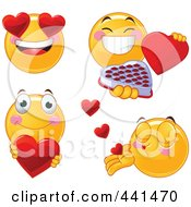 Royalty Free RF Clip Art Illustration Of A Valentine Smiley Emoticon With Heart Eyes by Pushkin