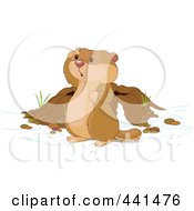 Royalty Free RF Clip Art Illustration Of A Cute Groundhog Looking Out By His Den by Pushkin