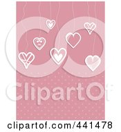 Royalty Free RF Clip Art Illustration Of A Pink Background Of Suspended Hearts Over Dots