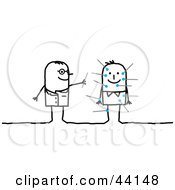 Clipart Illustration Of A Stick Acupuncture Doctor Sticking Needles In A Patient by NL shop