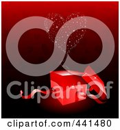 Royalty Free RF Clip Art Illustration Of A Sparkly Heart Emerging From A Red Gift Box Over A Red Heart Background