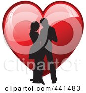 Royalty Free RF Clip Art Illustration Of A Silhouetted Couple Dancing Over A Shiny Red Heart
