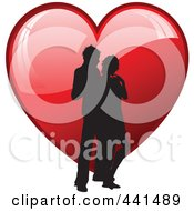 Royalty Free RF Clip Art Illustration Of A Silhouetted Couple Standing Over A Shiny Red Heart