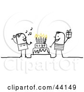 Clipart Illustration Of A Stick Woman Singing And A Man Holding A Gift Around A Birthday Or Anniversary Cake