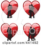 Royalty Free RF Clip Art Illustration Of A Digital Collage Of Romantic Silhouetted Couples Over Red Hearts by KJ Pargeter