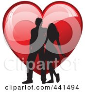 Royalty Free RF Clip Art Illustration Of A Silhouetted Couple Walking Over A Shiny Red Heart