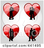 Royalty Free RF Clip Art Illustration Of A Digital Collage Of Romantic Couple Silhouettes Over Red Hearts by KJ Pargeter