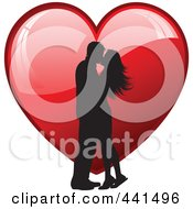 Royalty Free RF Clip Art Illustration Of A Silhouetted Couple Kissing Over A Shiny Red Heart by KJ Pargeter