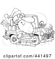Royalty Free RF Clip Art Illustration Of A Cartoon Black And White Outline Design Of Santa Standing By His Redneck Truck by toonaday