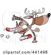 Royalty Free RF Clip Art Illustration Of A Cartoon Running Reindeer by toonaday