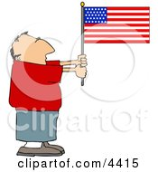 Patriotic Man Holding An American Flag Clipart by Dennis Cox