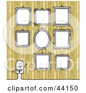 Clipart Illustration Of A Stick Man Giving A Tour Of Blank Framed Portraits In A Gallery by NL shop