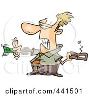 Royalty Free RF Clip Art Illustration Of A Cartoon Businessman Reluctantly Paying