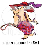 Royalty Free RF Clip Art Illustration Of A Cartoon Stylish Woman Wearing Beads And A Hat by toonaday
