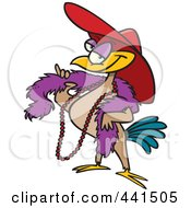 Royalty Free RF Clip Art Illustration Of A Cartoon Stylish Bird Wearing A Hat by toonaday