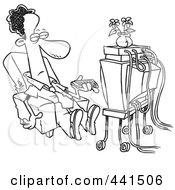 Royalty Free RF Clip Art Illustration Of A Cartoon Black And White Outline Design Of A Black Businessman Watching TV