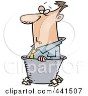Royalty Free RF Clip Art Illustration Of A Cartoon Rejected Businessman In A Bin by toonaday