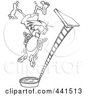 Royalty Free RF Clip Art Illustration Of A Cartoon Black And White Outline Design Of A Regretful Man Falling From A High Dive