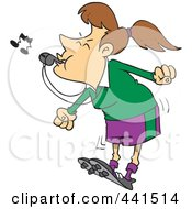 Cartoon Female Referee Blowing A Whistle