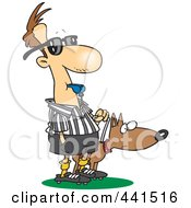 Cartoon Blind Referee With A Guide Dog