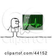 Clipart Illustration Of A Stick Cardiologist Doctor Reading A Heart Monitor