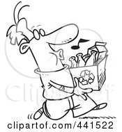 Royalty Free RF Clip Art Illustration Of A Cartoon Black And White Outline Design Of A Whistling Man Carrying A Carton To A Recycle Center