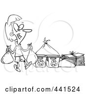 Royalty Free RF Clip Art Illustration Of A Cartoon Black And White Outline Design Of A Woman Carrying Bags To A Recycle Center