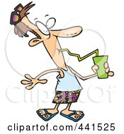 Royalty Free RF Clip Art Illustration Of A Cartoon Summer Man Drinking A Refreshing Beverage