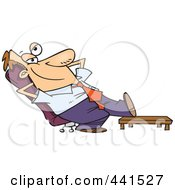 Royalty Free RF Clip Art Illustration Of A Cartoon Businessman Relaxing With His Feet Up