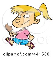 Cartoon Girl Eating A Refreshing Popsicle