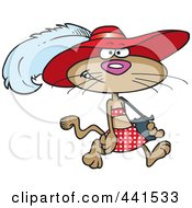Royalty Free RF Clip Art Illustration Of A Cartoon Stylish Cat Wearing A Hat by toonaday