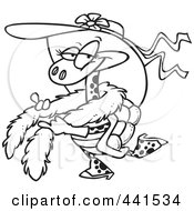 Cartoon Black And White Outline Design Of A Stylish Turtle Wearing A Hat