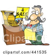 Cartoon Man Holding A For Sale Sign At His Register