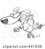 Royalty Free RF Clip Art Illustration Of A Cartoon Black And White Outline Design Of A Roller Blading Dog by toonaday