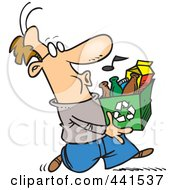 Royalty Free RF Clip Art Illustration Of A Cartoon Whistling Man Carrying A Carton To A Recycle Center
