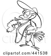 Royalty Free RF Clip Art Illustration Of A Cartoon Black And White Outline Design Of A Stylish Bird Wearing A Hat by toonaday
