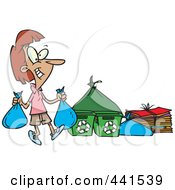 Royalty Free RF Clip Art Illustration Of A Cartoon Woman Carrying Bags To A Recycle Center