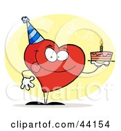 Clipart Illustration Of A Red Heart Character Wearing A Hat And Holding A Birthday Cake by Hit Toon