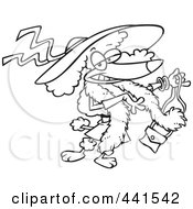 Royalty Free RF Clip Art Illustration Of A Cartoon Black And White Outline Design Of A Stylish Poodle Wearing A Hat by toonaday