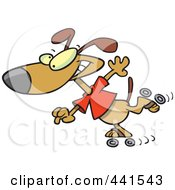 Royalty Free RF Clip Art Illustration Of A Cartoon Roller Blading Dog by toonaday