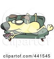 Cartoon Dog Holding A Remote Control And Resting On A Couch