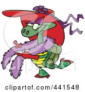 Royalty Free RF Clip Art Illustration Of A Cartoon Stylish Turtle Wearing A Hat by toonaday